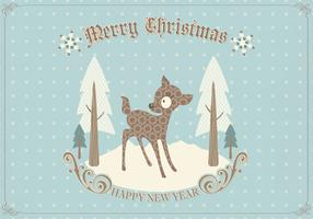 Retro Deer Christmas Card Vector
