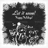 Chalk Drawn Holiday Snowman Vector Background
