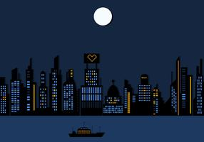 Night Time City Skyscraper Wallpaper Vector
