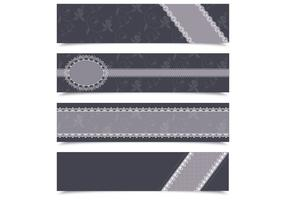 Charcoal Lace Banner Vector Pack