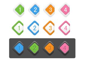 Diamond Numbered Icon Vector Pack