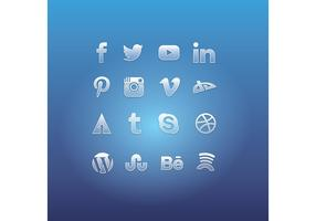 Glass Social Media Icon Vectors
