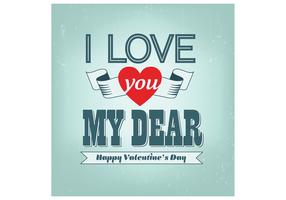 Love You Dear Valentine's Day Vector