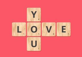 Love You Scrabble Block Vector