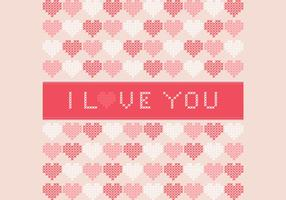 Cross Stitched I Love You Vector Background