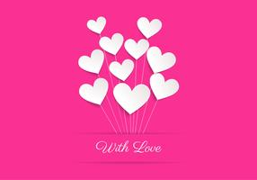 Pink Heart Balloon Love Vector Background