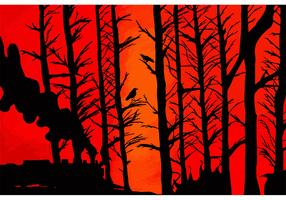 Red Sky and Forest Silhouette Vector
