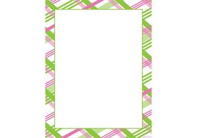 Pink & Green Plaid Frame Vector
