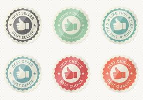 Glossy Thumbs Up Badge Vector Set