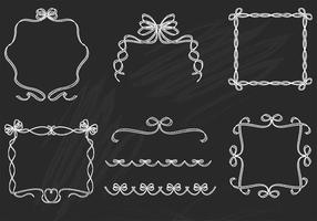 Chalk Drawn Ribbon Frame and Border Vectors