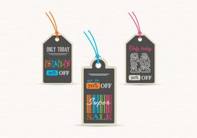 Chalk Board Sale Label Tags Vector Set