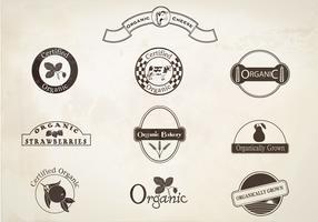 Retro Organic Labels Vector Set