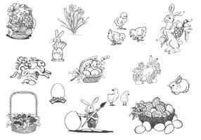 Drawn Spring and Easter Vector Set