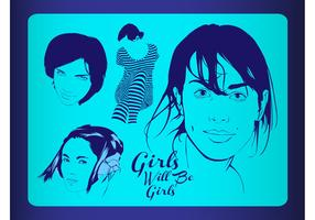 Vector Girls Illustrations