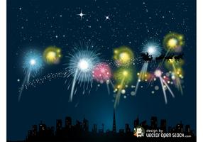 Christmas Fireworks Vector