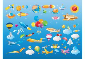 Flying Objects Vector