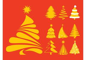 Christmas Trees Silhouettes Set