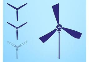 Wind Turbines Silhouettes Elements