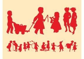 Playing Kids Silhouettes