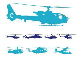 Helicopters Silhouettes Set