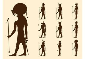 Egyptian Gods Silhouettes