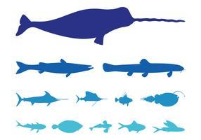 Sea Animals Silhouettes Set