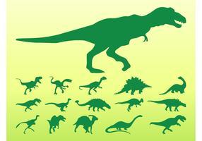Conjunto de silueta de dinosaurios