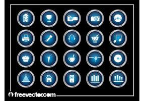 Shiny Round Icons Set