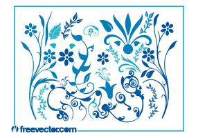 Blue Flower Swirls