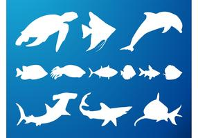 Sea Creatures Silhouettes Set