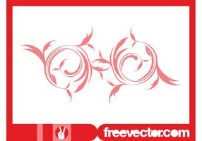 Red Floral Swirl Vector Ornament