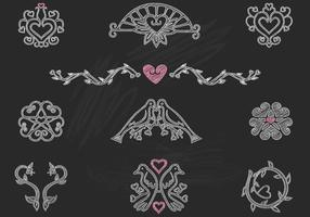 Chalk Drawn Heart Birds Ornaments Vector Pack