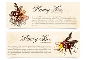 Honey Bee Banners Vector Set