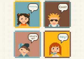 Pixel Niños Avatares Vectores