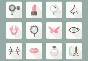 Flat Beauty Care Icons Vector Set
