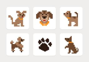 Pixel Dog Icons Vector Set