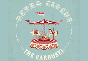 Retro Circus Carousel Background Vector