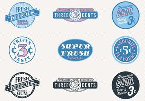 Retro Sweets Badges Vector Set