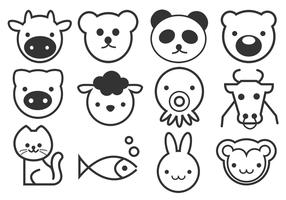 Outline Cute Animals Vector Pack