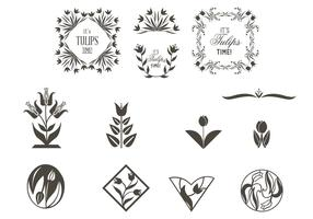 Tulip Ornaments Vector Set