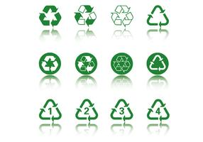Green Recycle Icon Vector Pack