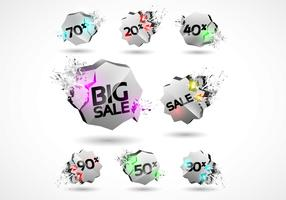 3D Explosion Sale Badges Vector Set