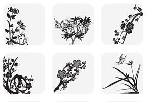 Cañas japonesas y ramas de flores vectoriales