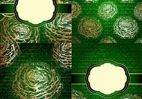 Emerald and Gold Floral Vintage Backgrounds Vector