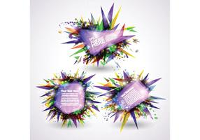 3D Shiny Explosion Banners Vector Set
