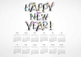 3D Explosion New Year Calendar Vector