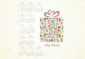Retro Christmas Gift Calendar Vector