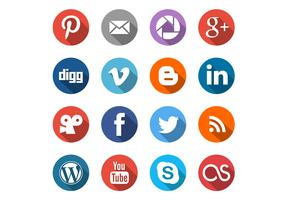 Round Social Media Icons Vector Set