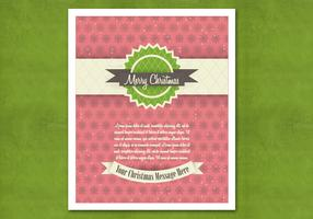 Red Retro Christmas Card Vector