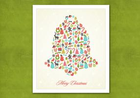 Retro Christmas Bell Vector Background
